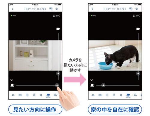 ペットの動きにカメラが反応して追従する