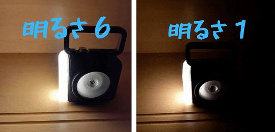 6段階調節×3の18種類の明るさ